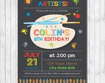 Art Birthday Party Invitation, Painting Party Invitation, Little Artist, painter invitation, art invite, chalkboard, printable