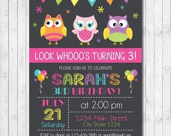 Owls Invitation, Owl Invite, Owls Birthday, Owl Party, Owls Invite, chalkboard, Girls Invitation, Digital printable Invitation