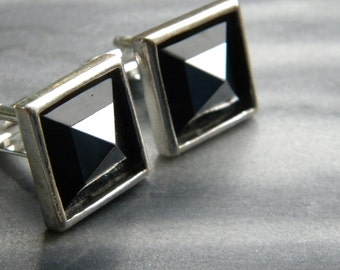 Intarsia Onyx Hematite Pyramid Cuff Links, silver plated, Men's Cuff Links, Father's Day Gift, Stone, Men's Jewelry
