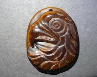 SALE on this Pendant ~ 3.00 Off / Hand Carved Tiger Eye Eagle Pendant Bead / Eagle Pendant Bead / Tiger Eye Pendant Bead