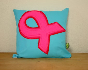 "Handmade Breast Cancer Awareness Cushion 16x16"" made to order 20% donated to charity"