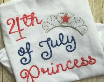 Fourth of July Applique Design - Princess Applique Design - Summer Applique Design - Fourth of July Embroider Design - Embroidery Saying