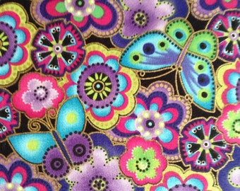 One, 34 Inch Piece of Fabric - Bird and Butterfly Fields, Purple