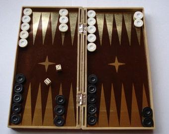 Magnetic Vintage Backgammon, Pocket Backgammon Game Box/UNUSED