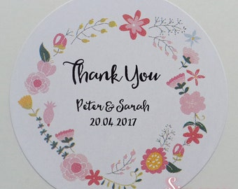 Flroal White Gloss Personalised Thank You Envelope or Favour Sticker Seals