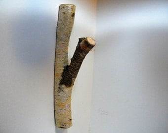 Wood Hook/Tree Branch Hook/White Birch Tree Hook