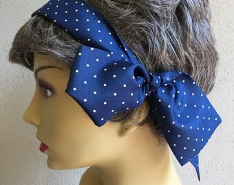 Silk Scarf Polka Dot Bue and White Bow, Hairband, Hat Band