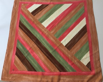 Silk Scarf Green, Brown, Coral, Caramel Abstract Stripes ELLEN TRACY
