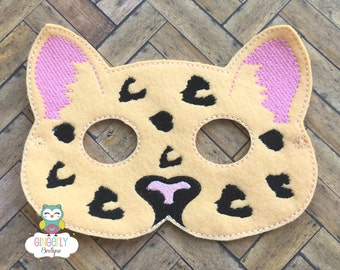 Leopard Mask, Kids Dress Up Mask, Leopard Costume Mask, Wool Blend Mask, Felt Leopard Mask, Jungle Party Favor, Monkey Mask