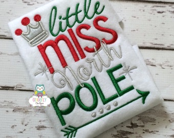 Little Miss North Pole Christmas Shirt or Bodysuit, Girls Christmas Shirt, Little Miss Christmas, Girls Santa Shirt, Christmas Shirt