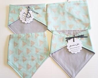 Bandana bibs. Mint with copper triangles. Dribble bib