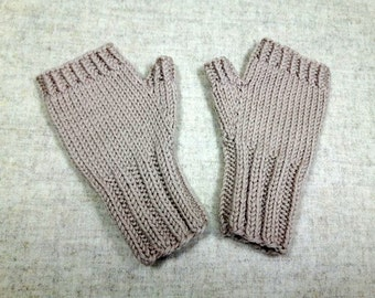 Organic Fingerless Gloves for toddlers, beige, wool merino, handknitted arm warmers, mittens
