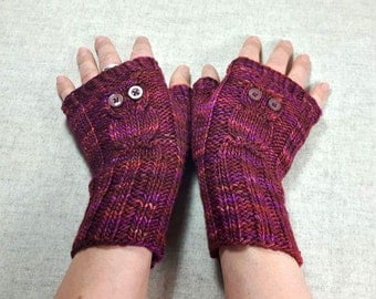 "Fingerless Gloves ""Owls"" burgundy, with Silk, handknitted Mittens for Women, Owl Arm Warmers"