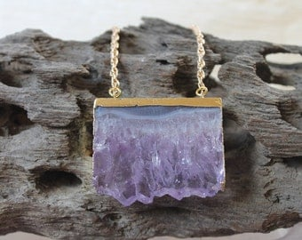 Amethyst Slice Pendant , Gold Filled Necklace , Birthsone Necklace, Boho necklace , Purple necklace, Tribal necklace, Gypsy Necklace