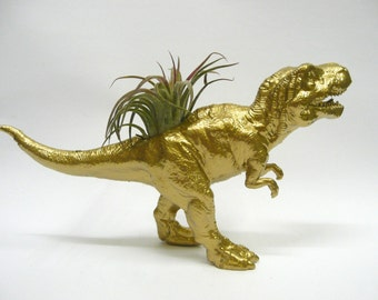 Gold T-Rex Dinosaur Planter with Air Plant // Coworker Gift // For Her // For Him