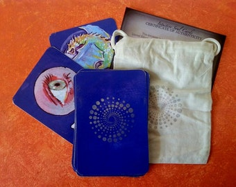 Handmade Oracle Deck Silver Gilded Hand-Stamped Printed from Original Art Channeled Writing Linda Fabry Intuitive Soul Cards Mandalas Series