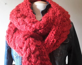 the Great Scarf with long Fringes / Fantasy texture Wool / Belgian brick RED / warm elegant Winter scarf