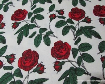 Flannel Fabric - Red Roses - 1 Yard - 100 Percent Cotton
