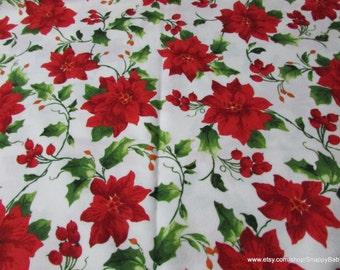 Christmas Flannel Fabric - Poinsettia  - 1 yard - 100% Cotton Flannel