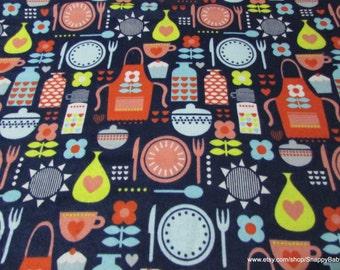 Flannel Fabric - Retro Kitchen - 1 yard - 100% Cotton Flannel