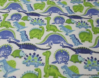 Flannel Fabric - Happy Dinosaurs - 1 yard - 100% Cotton Flannel