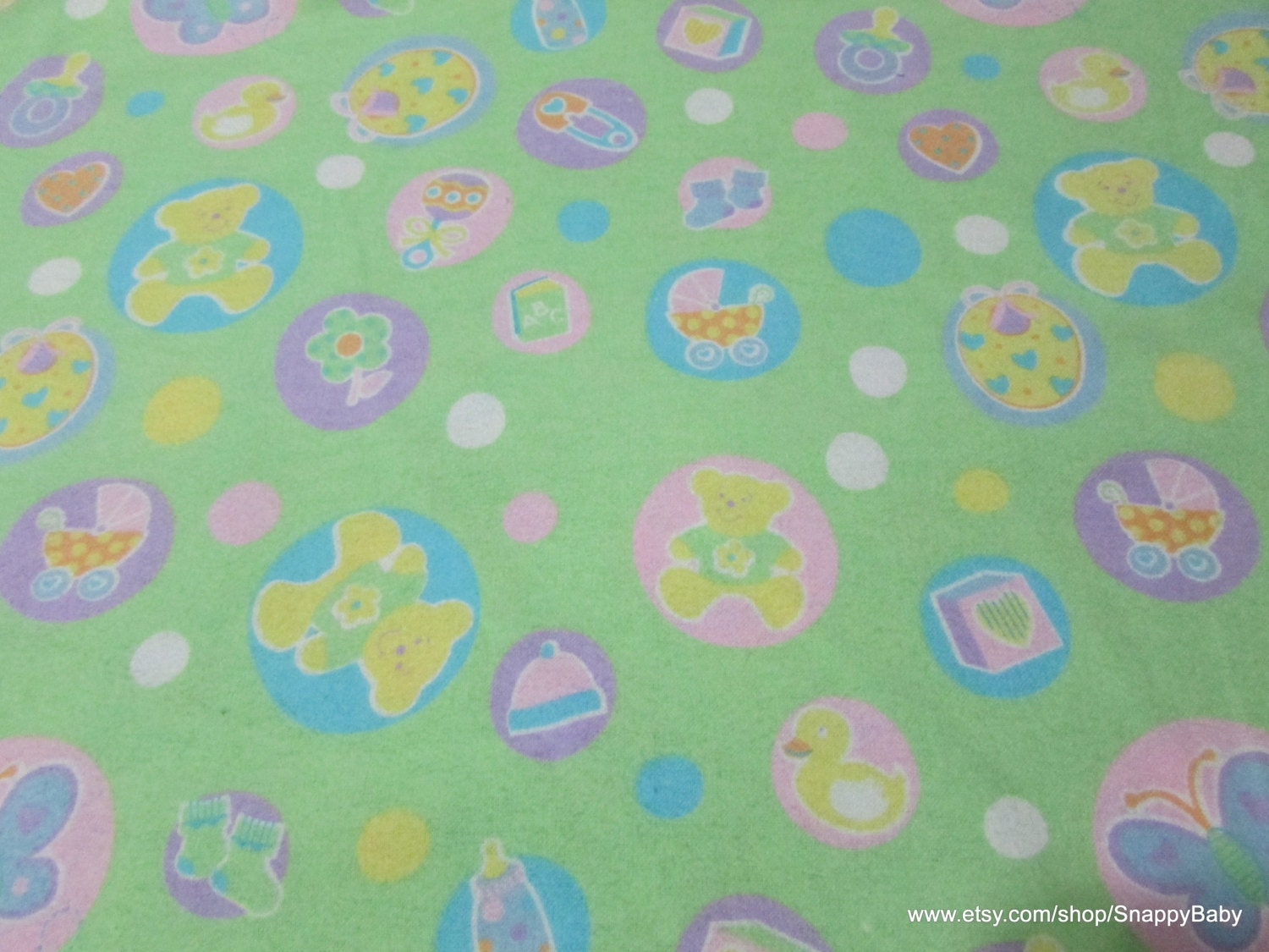 Flannel fabric welcome baby green 1 yard 100 cotton for Children s flannel fabric by the yard