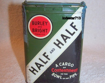 Vintage Tobacco Tin Half and Half, Tobacco Collectables, Dated 1926, Smoking Tin