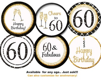 60th Cupcake Toppers, 60th birthday party, 60th party 60th favor tag  60th birthday  gold black chevron personalized for you  digital
