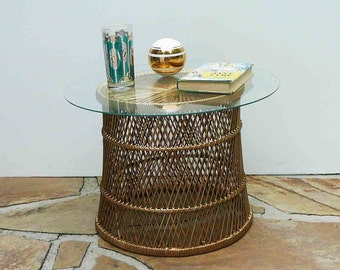 Vintage Rattan Table Boho Chic Gold Planter Tiki Stand Wicker Stool Mid Century Beach Bohemian Buri Seat Home Decor Home and Living