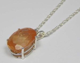 Feldspar Necklace. Sunshimmer Feldspar Pendant. Feldspar Facet Cut Stone.