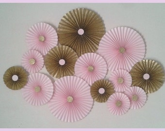 Glitter Gold & Blush Pink Paper Rosette Backdrop - Set of 14.