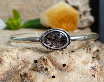 Lepidocrocite in Quartz sterling silver cuff bracelet // Size S // Quartz Jewelry // Handmade