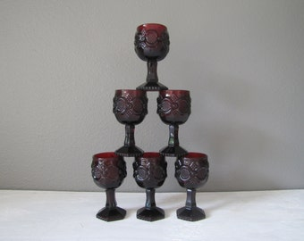 Vintage Avon Goblets, Cape Cod, Ruby Red Wine Goblets