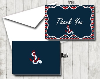 Nautical Baby Shower Thank You Note, Thank You Note Card, Note Card, Nautical Shower Note Card, Red Anchor Note Card, Nautical Note Card