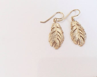 gilt silver feather earrings
