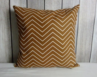 Throw Pillow. Brown Pillow. Chevron Pillow. Pillow Cover.
