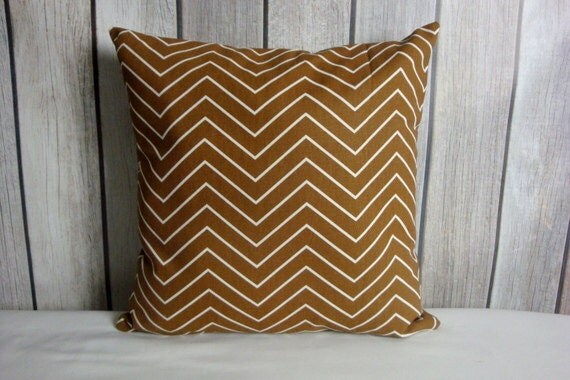 Throw Pillow. Brown Pillow. Chevron Pillow. Pillow Cover.