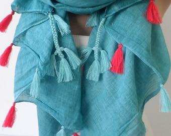 Ocean Green scarf Green Super Elegant women scarfs Fringe shawl Natural Cotton Soft scarf Summer scarf Boho stylie Bohemian trendy scarf