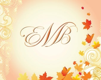 20 Autumn / Fall Custom Monogram Folded Note Cards, thank you card