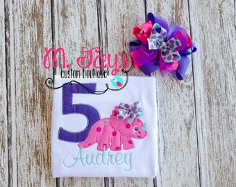Girls Dinosaur Applique Birthday Shirt