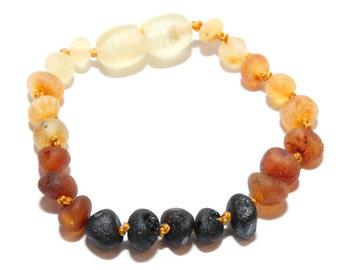 Genuine Raw Baltic Amber Baby Teething Bracelet/Anklet Rainbow. Authentic
