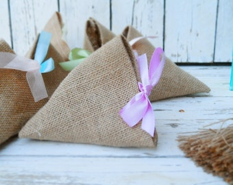 Burlap favor bags with ribbon - Set of 50 Wedding favor bags - Gift bags - choose your ribbon