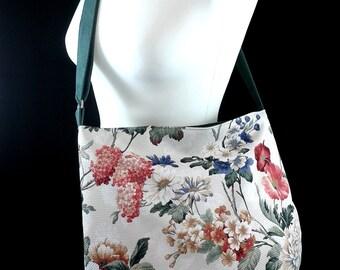 BAG with flowers, messenger, hobo bag, Hobo M flowers