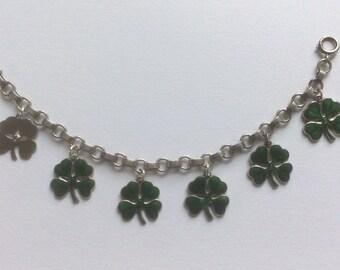 Sterling Silver Enamel Antique Lucky Four leaf clover Charm Bracelet Wells