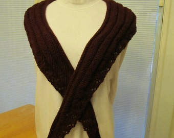 Maroon and Lace Scarf,teachers gift,lace scarf,knit, hand knit
