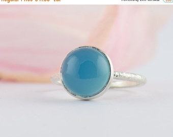ON SALE Blue Chalcedony Ring - May Birthstone Ring - Round Cabochon Ring - Sterling Silver Blue Ring - Stacking Ring - Size 3 4 5 6 7 8 9 10