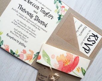 Pocketfold wedding invitation - rustic floral wedding invitation - peach floral wreath invitation - spring pocketfold invitation
