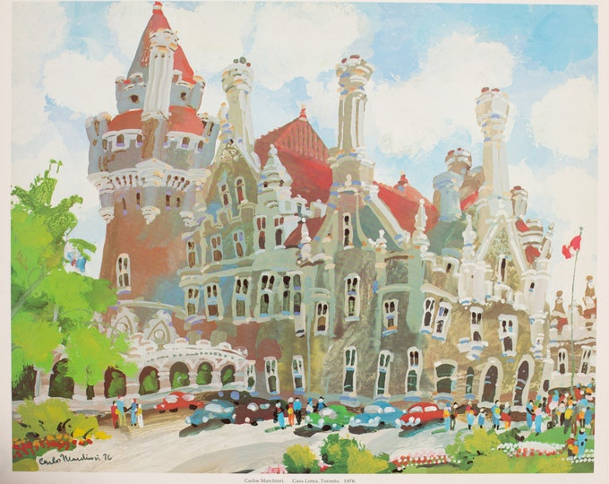 "1976 ""Casa Loma"" Limited Edition Print of Whimsical Painting by Artist Carlos Marchiori / Toronto Canada Cityscape / Historic GTA Landmark"
