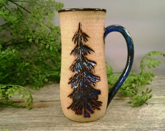 16 oz Bright Blue Evergreen Pine Tree Mug - Wheel Thrown and Hand Sculpted Coffee Cup