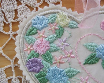 Christmas ~ Valentine ~ Wreath ~ Easter ~ Birthday Silk Heart Ornament ~ Decoration Machine Embroidered Floral in Pastel Colors
